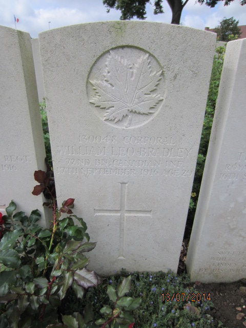 Grave Marker– Grave marker at Bailleul Communal Cemetery, France for Corporal William Leonard Bradley. Image taken by Tom Tulloch 13 July 2014.