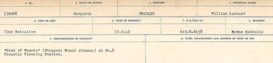 Circumstances of Death Registers– Source: Library and Archives Canada.  CIRCUMSTANCES OF DEATH REGISTERS FIRST WORLD WAR Surnames: Brabant to Britton. Mircoform Sequence 13; Volume Number 131829_B016722; Reference RG150, 1992-93/314, 156 Page 151 of 906.