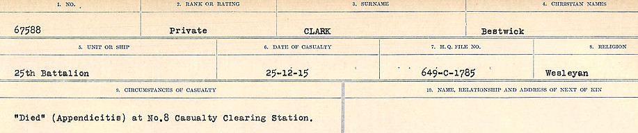 Circumstances of Death Registers– Source: Library and Archives Canada.  CIRCUMSTANCES OF DEATH REGISTERS, FIRST WORLD WAR Surnames:  CHILD TO CLAYTON.  Microform Sequence 20; Volume Number 31829_B016729. Reference RG150, 1992-93/314, 164.  Page of 481 of 1068.