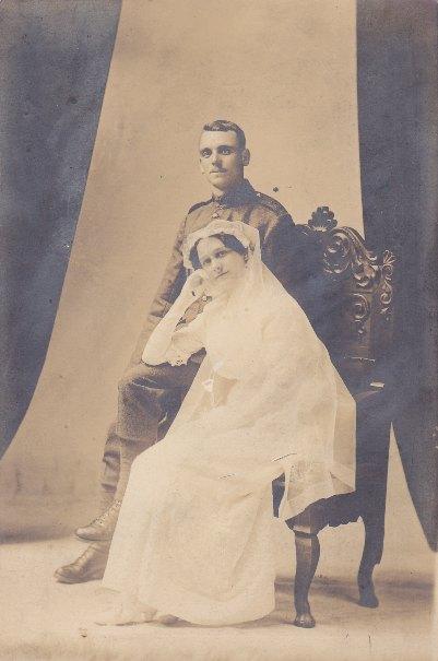 Photo of BESTWICK CLARK AND MURIEL CLARK– Wedding day - April 20, 1915