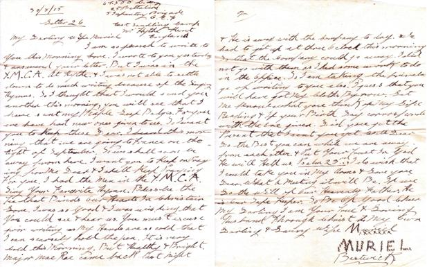Letter– Letter 26 From Kent, England to wife Muriel in Halifax.