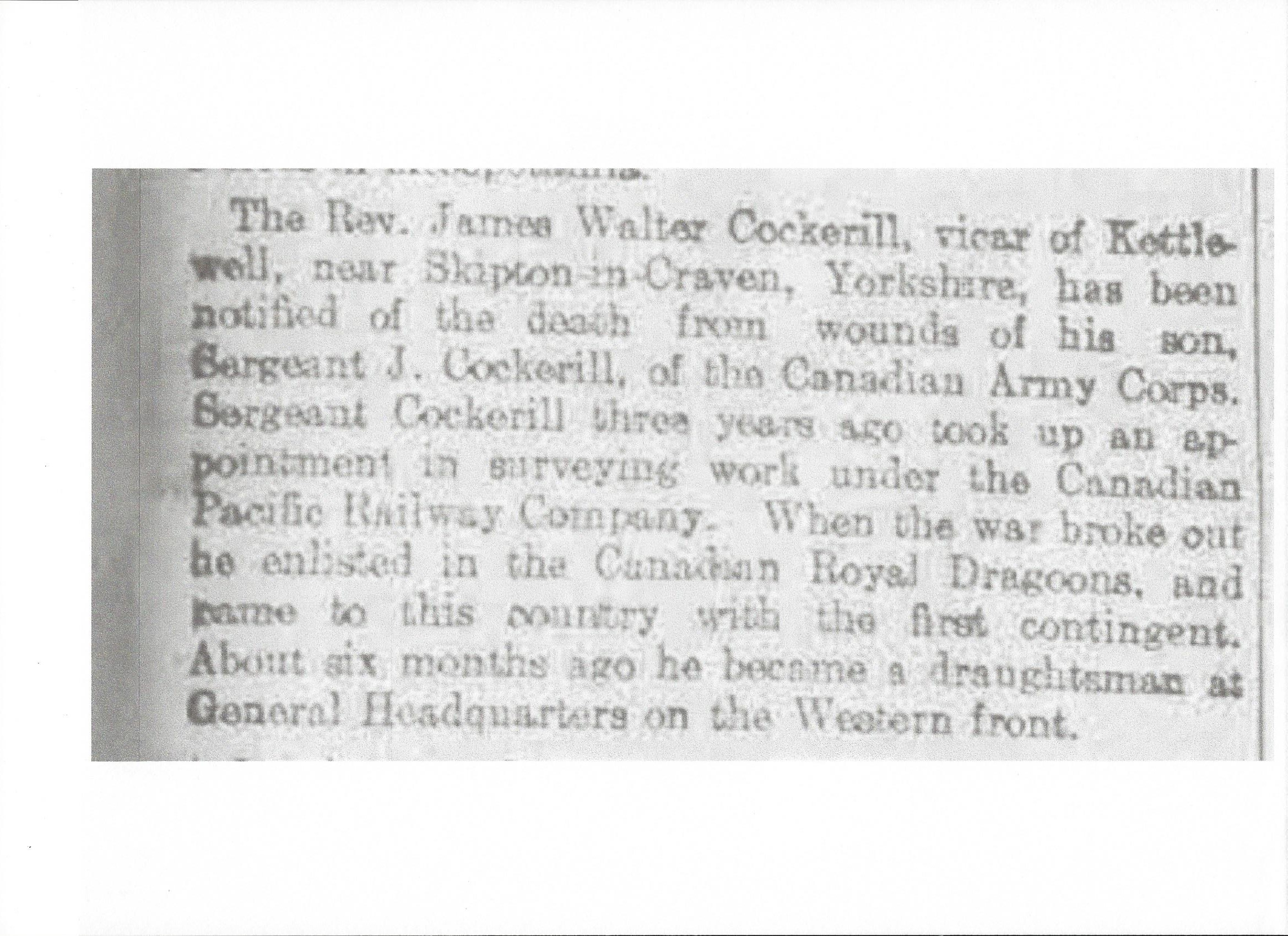 Newspaper Clipping– Newspaper clipping from Daily Telegraph of March 1, 1916. Image taken from web address of http://www.telegraph.co.uk/news/ww1-archive/12175172/Daily-Telegraph-March-1-1916.html