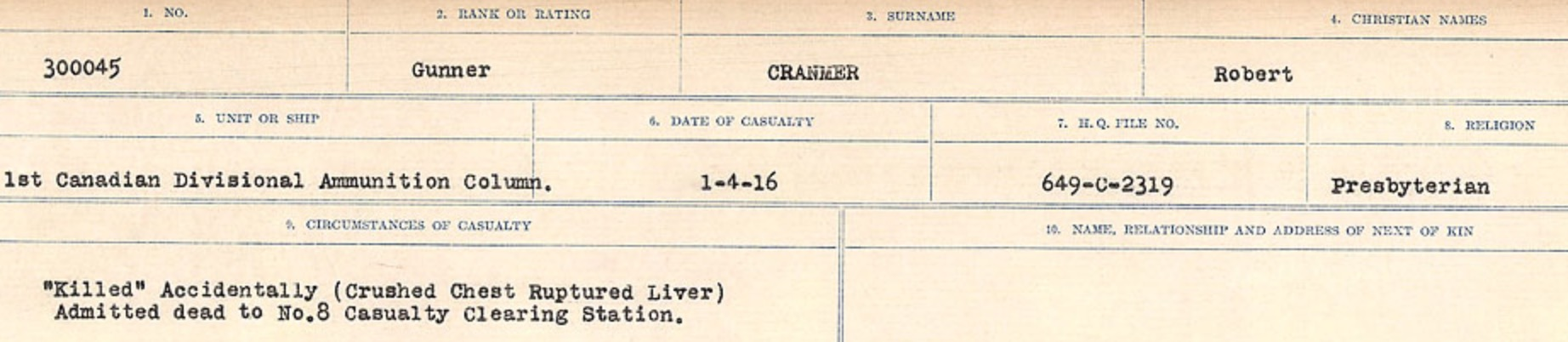 Circumstances of death registers– Source: Library and Archives Canada. CIRCUMSTANCES OF DEATH REGISTERS, FIRST WORLD WAR Surnames: CRABB TO CROSSLAND Microform Sequence 24; Volume Number 31829_B016733. Reference RG150, 1992-93/314, 168. Page 255 of 788.