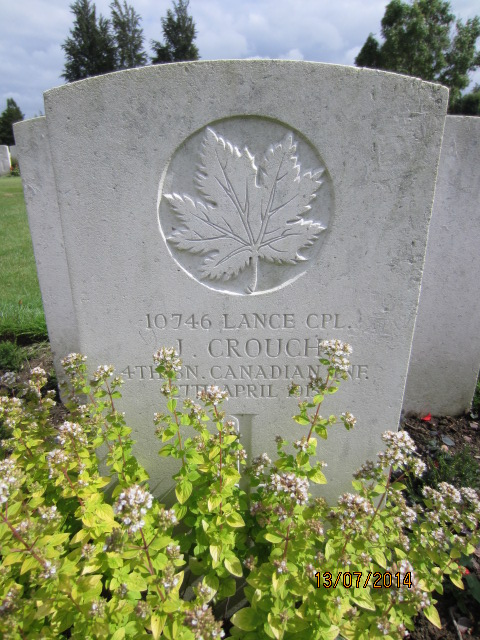 Grave marker– Grave marker at Bailleul Communal Cemetery in France showing inscription for Lance Corporal Jack Crouch. Image taken 13 July 2014 by Tom Tulloch.