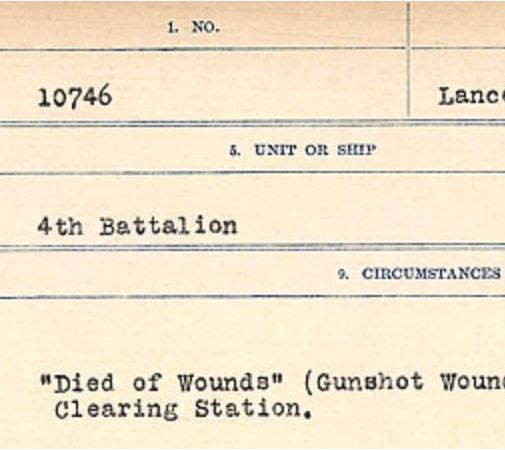 Circumstances of death registers– Source: Library and Archives Canada. CIRCUMSTANCES OF DEATH REGISTERS, FIRST WORLD WAR Surnames: Crossley to Cyrs. Microform Sequence 25; Volume Number 31829_B016734. Reference RG150, 1992-93/314, 169. Page 59 of 890.