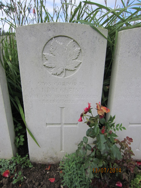 Grave Marker– Grave marker at Bailleul Communal Cemetery, France for Corporal James Dalgleish. Image taken 13 July 2014 by Tom Tulloch