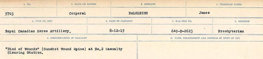 Circumstances of death registers– Source: Library and Archives Canada. CIRCUMSTANCES OF DEATH REGISTERS, FIRST WORLD WAR Surnames: Dack to Dabate. Microform Sequence 26; Volume Number 31829_B016735. Reference RG150, 1992-93/314, 170. Page 139 of 1140.