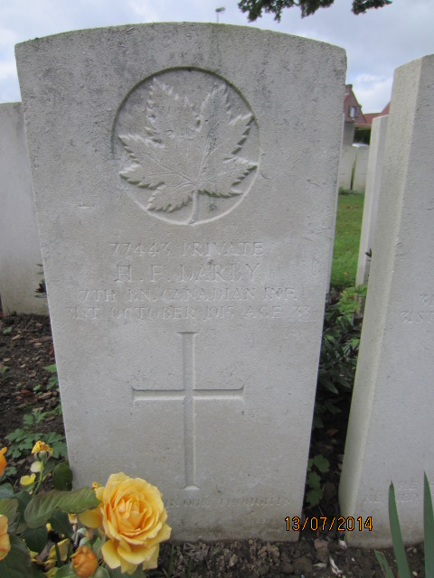 Grave Marker– Grave marker for Herbert Francis Darby in Bailleul Communal Cemetery, Nord, France. Image taken 13 July 2014 by Tom Tulloch.