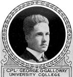 Photo of George Gordon Galloway– From: The Varsity Magazine Supplement published by The Students Administrative Council, University of Toronto 1918.  