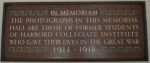 Plaque– In memory of the Harbord Collegiate Institute students who served during World War I and World War II and did not return home. 
