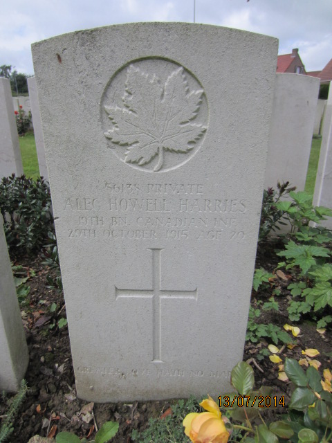 Grave Marker– Grave marker for Alec Howell-Harries in Bailleul Communal Cemetery, Nord France. Image taken 13 July 2014 by Tom Tulloch.