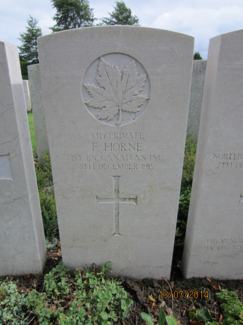 Grave Marker– Grave marker at Bailleul Communal Cemetery, France for Private Frederick Horne.