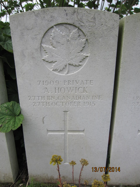 Grave Marker– Grave marker for Alfred Howick in Bailleul Communal Cemetery, Nord, France.