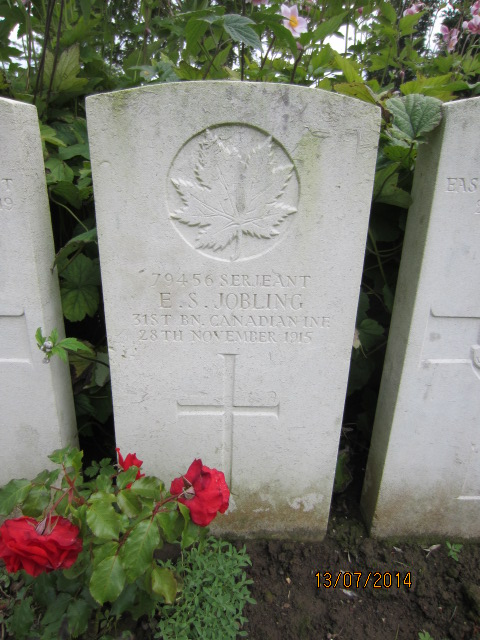 Grave Marker– Grave marker at Bailleul Communal Cemetery, France for Sergeant Edward Seymour (Sid) Jobling. Image taken 13 July 2014 by Tom Tulloch