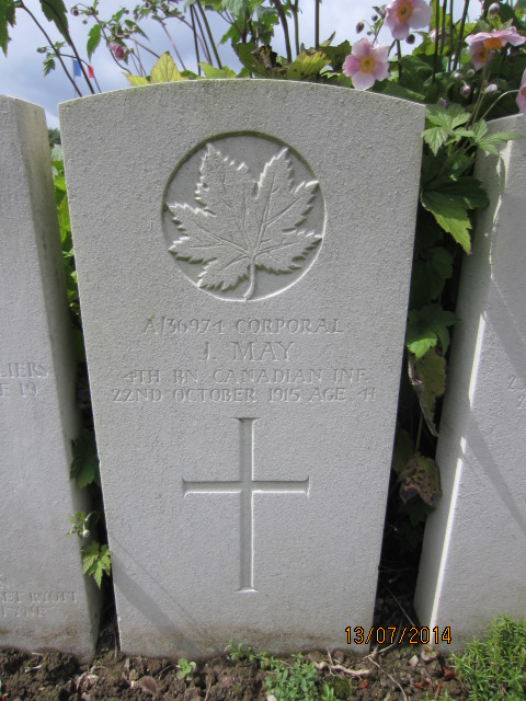 Grave Marker– Grave marker for James May in Bailleul Communal Cemetery, Nord, France.