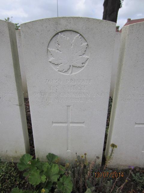 Grave Marker– Grave marker for John Scott Milne in Bailleul Communal Cemetery, Nord, France. Image taken 13 July 2014 by Tom Tulloch.