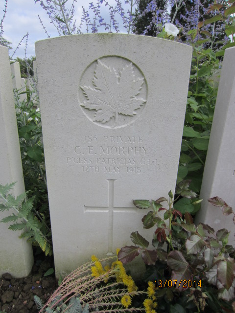 Grave Marker– Grave marker for Charles Morphy at Bailleul Communal Cemetery Extension, Nord, France. Submitted by Tom Tulloch; image taken 13 July 2014