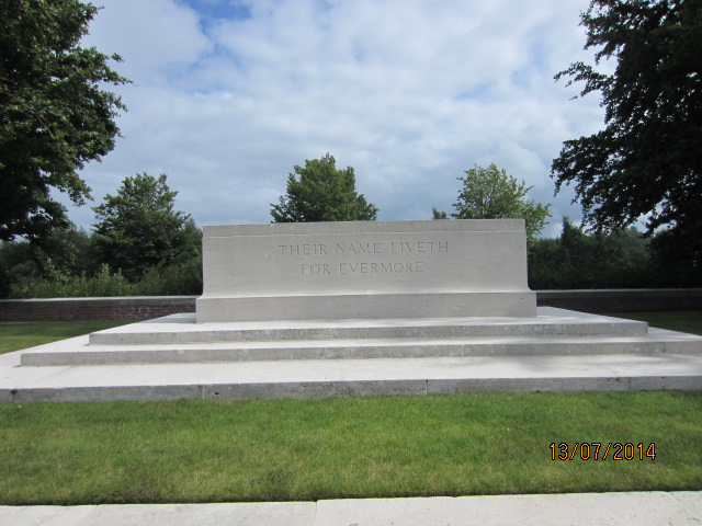 Stone of Remembrance– Stone of Remembrance at Bailleul Communal Cemetery Extension, Nord, France. Submitted by Tom Tulloch; image taken 13 July 2014