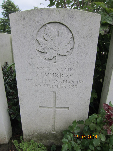 Grave Marker– Grave marker at Bailleul Communal Cemetery, France for Private Maurice Murray. Image taken 13 July 2014 by Tom Tulloch
