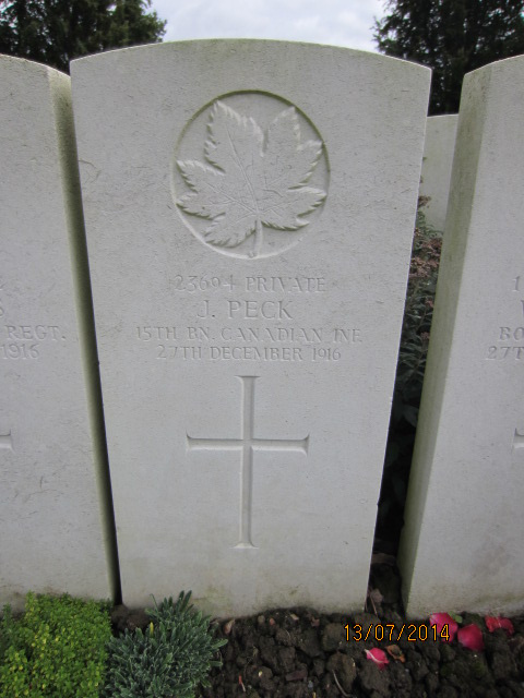 Grave Marker– Grave marker at Bailleul Communal Cemetery, France for Private Jack Peck.