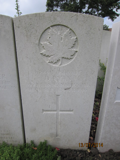 Grave Marker– Grave marker at Bailleul Communal Cemetery, France for Private Dennis Ryan.