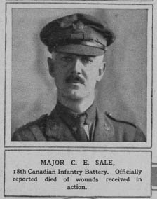 Newspaper Clipping– Major C. E. Sale 18th Canadian Infantry Battery. Officially reported died of wounds received in action http://www.illustratedfirstworldwar.com/item/for-king-and-country-officers-on-the-roll-of-honour-iln0-1916-0205-0021-001/