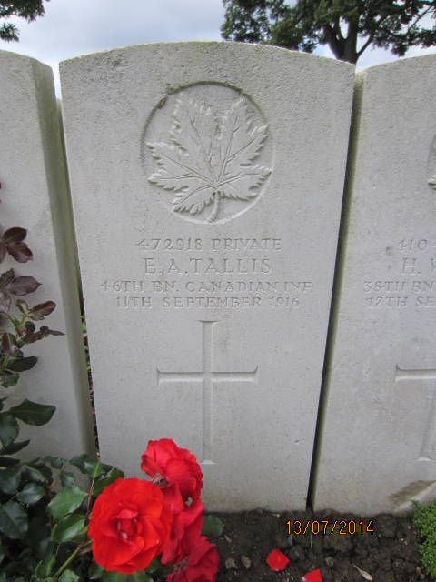Grave Marker– Grave marker at Bailleul Communal Cemetery, France for Private Edgar Alfred Tallis.
