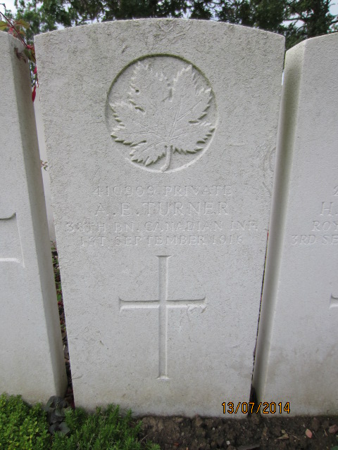 Grave Marker– Grave marker at Bailleul Communal Cemetery, France for Private Albert Edward Turner. Image taken by Tom Tulloch 13 July 2014.
