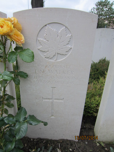 Grave Marker– Grave marker for John Malcolm Walker in Bailleul Communal Cemetery, Nord, France. Image taken 13 July 2014 by Tom Tulloch.