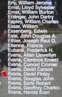 Memorial– Warrant Officer Class II David Finlay Evans is also commemorated on the Bomber Command Memorial Wall in Nanton, AB … photo courtesy of Marg Liessens