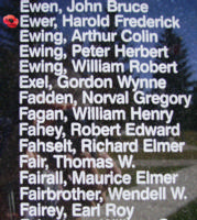 Memorial– Flight Lieutenant Harold Frederick Ewer is also commemorated on the Bomber Command Memorial Wall in Nanton, AB … photo courtesy of Marg Liessens