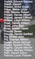 Memorial– Flying Officer Lloyd William Frizzell is also commemorated on the Bomber Command Memorial Wall in Nanton, AB … photo courtesy of Marg Liessens