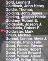 Memorial– Flight Sergeant Mark Goldwater is also commemorated on the Bomber Command Memorial Wall in Nanton, AB … photo courtesy of Marg Liessens