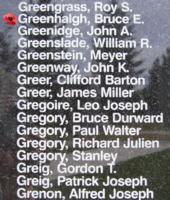 Memorial– Flight Sergeant Bruce Edward Greenhalgh is also commemorated on the Bomber Command Memorial Wall in Nanton, AB … photo courtesy of Marg Liessens