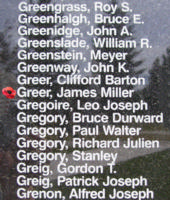 Memorial– Flight Sergeant James Miller Greer is also commemorated on the Bomber Command Memorial Wall in Nanton, AB … photo courtesy of Marg Liessens