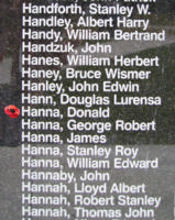 Memorial– Pilot Officer Donald Hanna is also commemorated on the Bomber Command Memorial Wall in Nanton, AB … photo courtesy of Marg Liessens