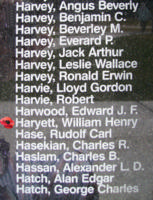 Memorial– Pilot Officer William Henry Haryett is also commemorated on the Bomber Command Memorial Wall in Nanton, AB … photo courtesy of Marg Liessens