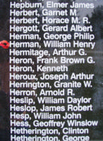 Memorial– Pilot Officer William Henry Herman is also commemorated on the Bomber Command Memorial Wall in Nanton, AB … photo courtesy of Marg Liessens