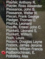 Memorial– Sergeant Edmund Podborochinski is also commemorated on the Bomber Command Memorial Wall in Nanton, AB … photo courtesy of Marg Liessens