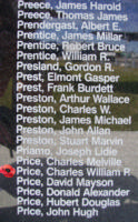 Memorial– Sergeant Charles William Patterson Price is also commemorated on the Bomber Command Memorial Wall in Nanton, AB … photo courtesy of Marg Liessens