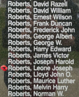 Memorial– Flying Officer Leone Joseph Roberts is also commemorated on the Bomber Command Memorial Wall in Nanton, AB … photo courtesy of Marg Liessens