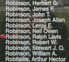 Memorial– Flight Sergeant Ralph Lavis Robinson is also commemorated on the Bomber Command Memorial Wall in Nanton, AB … photo courtesy of Marg Liessens
