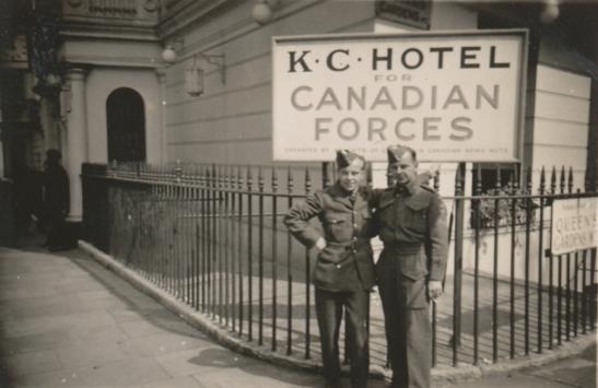 Photo of Barney Rynski– Flight Sergeant Barney Rynski on leave in London.  In front of Albion Hotel.