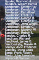 Memorial– Flying Officer Charles Richard Sandes is also commemorated on the Bomber Command Memorial Wall in Nanton, AB … photo courtesy of Marg Liessens