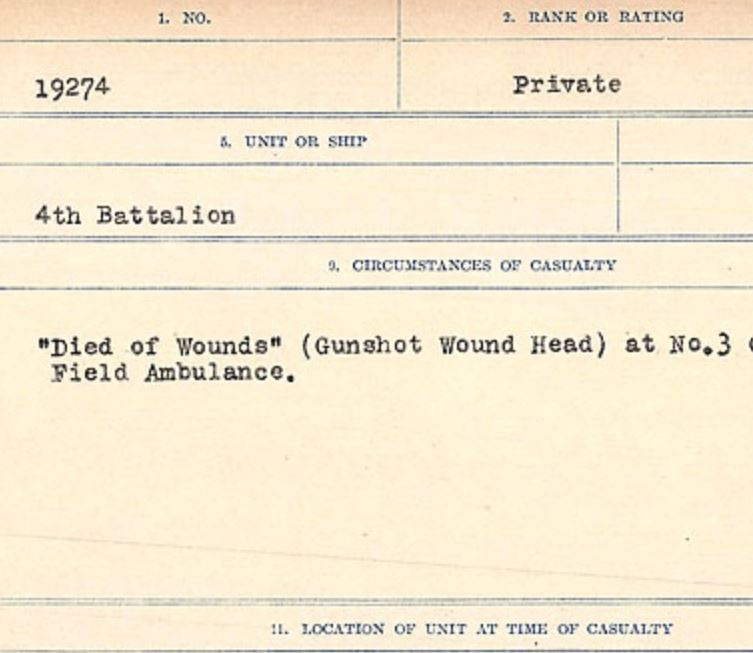 Circumstances of death registers– Source: Library and Archives Canada. CIRCUMSTANCES OF DEATH REGISTERS, FIRST WORLD WAR Surnames: Crossley to Cyrs. Microform Sequence 25; Volume Number 31829_B016734. Reference RG150, 1992-93/314, 169. Page 75 of 890. Exhumed from Douave, 4 miles North West of Armentieres.