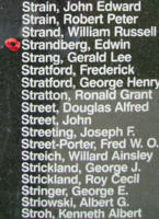Memorial– Warrant Officer Class II Edwin Strandberg is commemorated on the Bomber Command Memorial Wall in Nanton, AB … photo courtesy of Marg Liessens