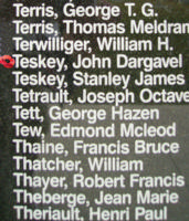 Memorial– Flying Officer John Dargavel Teskey is commemorated on the Bomber Command Memorial Wall in Nanton, AB … photo courtesy of Marg Liessens
