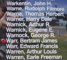 Memorial– Sergeant Navigator (Bomber) Bertram James Warr is also commemorated on the Bomber Command Memorial Wall in Nanton, AB … photo courtesy of Marg Liessens