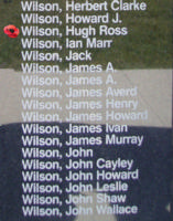 Memorial– Flying Officer Hugh Ross Wilson is also commemorated on the Bomber Command Memorial Wall in Nanton, AB … photo courtesy of Marg Liessens