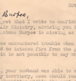 Letter– Wing Commander Guy Penrose Gibson VC DSO (bar) DFC (bar) - his letter written to Mrs. Lewis Burpee (Lillian) three days after the Dambuster Raid explaining that her husband P/O L.J. Burpee had crashed.